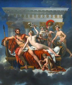 Davids siste store maleri fra 1824. Venus, Amor og de tre Gratier avvæpner Mars.