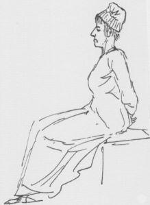 Marie-Antoinette på vei til giljotinen, 16. oktober 1793, ført i penn av David